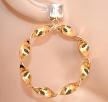 ORECCHINI donna ORO cristallo cerchi pendenti ondulati brincos Creolen hoops earrings CC225