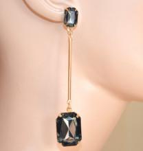 ORECCHINI donna ORO dorati cristalli grigio pendenti lunghi moda earrings CC226