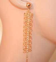 ORECCHINI donna oro dorati pendenti lunghi filo strass brillantini elegante A72
