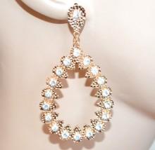 ORECCHINI donna oro dorati strass cristalli pendenti ovali martellati örhängen CC119