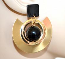 ORECCHINI donna oro dorato nero cerchi pendenti ragazza earrings boucles CC164