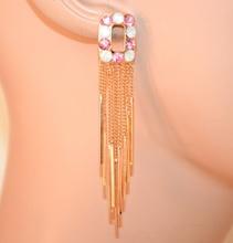 ORECCHINI donna oro dorato strass rosa bianco fili pendenti boucles earrings A38