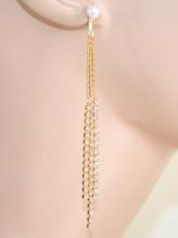 ORECCHINI donna ORO perle fili strass cristalli pendenti dorati eleganti da cerimonia E215