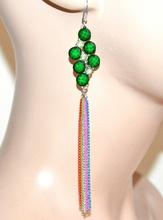 ORECCHINI donna ragazza argento fili pendenti pietre strass verdi bijoux F289