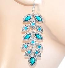 Orecchini etnici argento pietre strass verde azzurro donna ragazza pendenti F163