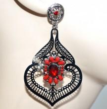 ORECCHINI grigio filigrana donna strass pietre rosse cristallo pendenti dark gothic BB44