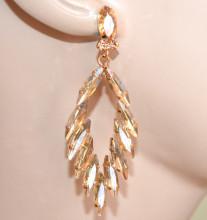 ORECCHINI ORO cristalli AMBRA donna pendenti strass gocce eleganti cerimonia S83