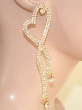 ORECCHINI ORO donna CUORI pendenti ELEGANTI dorati STRASS cristalli boucles 1105