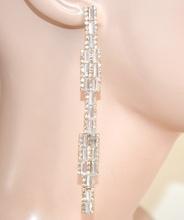 ORECCHINI ORO  donna  pendenti lunghi cristalli strass eleganti  cerimonia L10