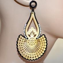 Orecchini oro dorati neri pendenti donna metallizzati strass brillantini A33