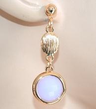 ORECCHINI ORO LILLA GLICINE donna pendenti dorati pietre cristalli boucles F210