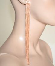 ORECCHINI ORO ROSA donna multi fili pendenti extra-lunghi sexy eleganti pendientes BB66