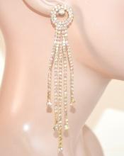 ORECCHINI ORO STRASS fili pendenti eleganti donna cristalli boreali boucles E160