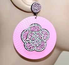 ORECCHINI rosa donna cerchi pendenti fiore strass brillantini ragazza boucles d'oreilles CC108