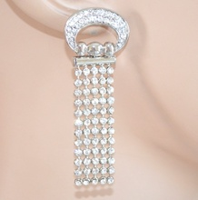 ORECCHINI STRASS ARGENTO donna cristalli pendenti brillantini earrings 1155