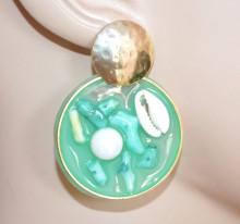 ORECCHINI VERDE acquamarina oro donna perla conchiglia cerchi pendenti S53