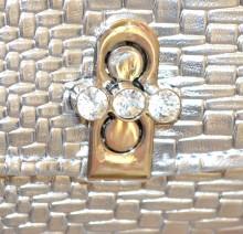POCHETTE ARGENTO donna borsello metallizzata borsa cristalli clutch bag silver purse G75