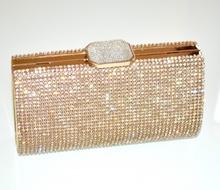 POCHETTE clutch cristalli cerimonia donna oro dorata cristalli borsello elegante da sera borsa brillantini bag 145