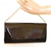 POCHETTE NERA borsello donna vernice borsa borsetta elegante cerimonia black bag G54