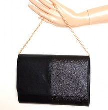 POCHETTE NERA donna borsa borsello brillantini elegante clutch bag sac pose G24