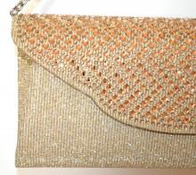 POCHETTE ORO donna  strass cristalli AMBRA borsello borsa borsetta clutch shimmer G56