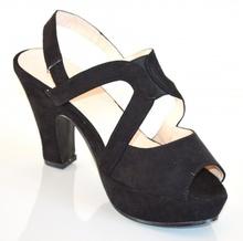 SANDALI NERI scarpe donna TACCO MEDIO ALTO pelle scamosciata elegante decoltè plateau cerimonia 20X