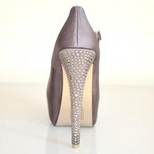 Scarpe decoltè donna decollete argento raso cinturino tacco altissimo con plateau strass cristalli 20A