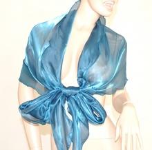 STOLA AZZURRO AVION donna CERIMONIA foulard MAXI coprispalle elegante x abito\vestito da sera F5