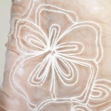 STOLA BEIGE foulard 30% SETA scialle ricamato coprispalle sciarpa elegante G45