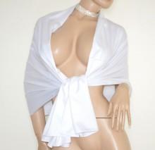 STOLA BIANCA donna maxi foulard seta coprispalle scialle sciarpa raso elegante cerimonia G82