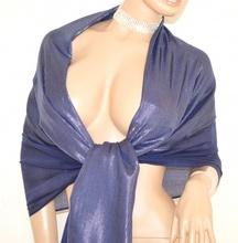 STOLA BLU donna elegante scialle luminoso coprispalle abito da sera MAXI FOULARD cerimonia S3