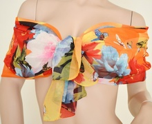 Stola Coprispalle donna elegante per abito da sera\cerimonia arancio con farfalle