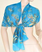 Stola Coprispalle donna elegante per abito da sera\cerimonia azzurra con cerchi oro