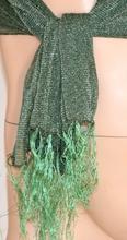 STOLA coprispalle donna FOULARD cerimonia elegante VERDE brillantinato sciarpa sera shimmer trasparente 200M