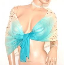 STOLA donna AVORIO AZZURRO coprispalle foulard seta velato elegante da cerimonia E98
