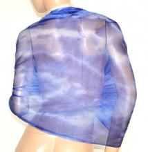 STOLA donna BLU coprispalle maxi foulard scialle velato elegante cerimonia brillantini A2