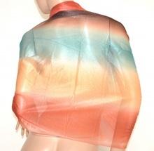 STOLA donna CORALLO BEIGE VERDE BRONZO maxi foulard seta velata coprispalle elegante cerimonia E45