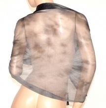 STOLA donna NERA GRIGIO coprispalle elegante maxi foulard scialle velato brillantini A2