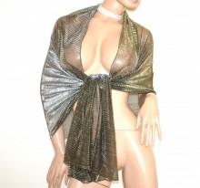STOLA donna ORO BRONZO foulard sciarpa maxi coprispalle scialle dorato velato metallizzato étole G55