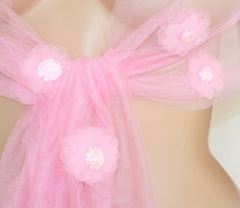 STOLA donna ROSA foulard elegante floreale velato DAMIGELLA coprispalle cerimonia da sera 95X