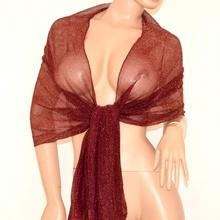 STOLA donna sciarpa foulard PRUGNA scialle elegante trasparente shimmer 150