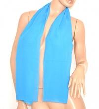 STOLA foulard donna coprispalle cerimonia elegante trasparente tinta unita seta azzurro sciarpa 165G