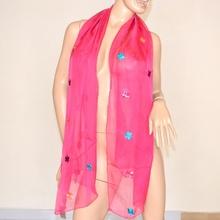 Stola foulard maxi coprispalle rosa fucsia seta velata floreale ricamata elegante sciarpa chic 106D