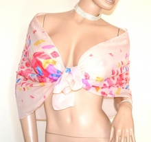 STOLA foulard ROSA CIPRIA fantasia velata coprispalle elegante cerimonia A42