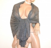 STOLA GRIGIO NERA ARGENTO maxi foulard donna coprispalle lurex brillantinato scialle elegante B3