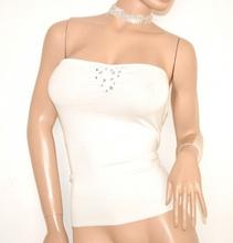 TOP FASCIA donna BIANCA elegante maglietta sottogiacca cristalli da cerimonia party E55
