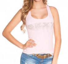 TOP ROSA CIPRIA donna canotta sexy strass t-shirt maglia smanicata sport palestra zip oro AZ49