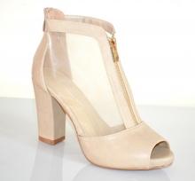 TRONCHETTI donna BEIGE sandali decolte velato stivaletti spuntati pelle tacco alto F2X