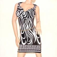 Vestito mini abito donna nero bianco giromanica elastico con cintura catena oro 81B