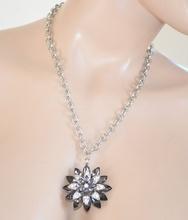 COLLANA GIROCOLLO donna ARGENTO strass CIONDOLO CRISTALLI fiore nero catena anelli collier 10N